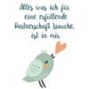 """""""Alles was ich für eine erfüllende Partnerschaft brauche, ist in mir"""", Glaubenssatz mit Vogel und Herz"""