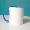 """blaue tasse 100x100 - """"Ich bin glücklich und erfüllt"""" - Tasse"""