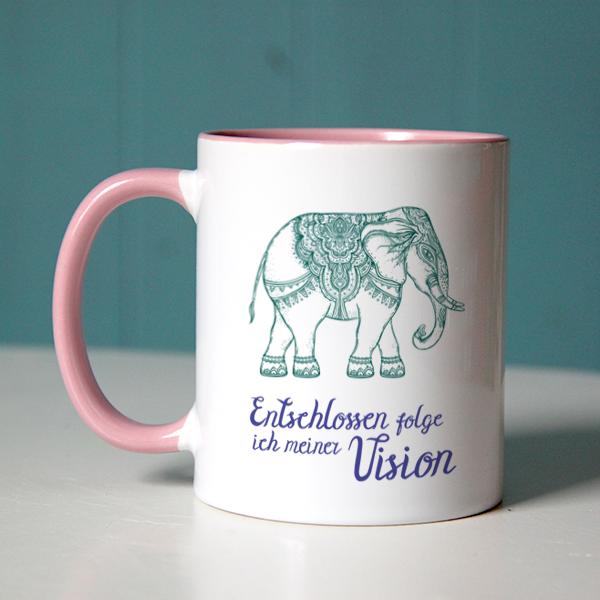 """Kraftvolle Affirmation """"Entschlossen folge ich meiner Vision"""" mit indischem Elefant auf rosa Tasse"""