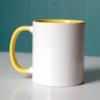"""gelbe tasse 100x100 - """"Ich bin glücklich und erfüllt"""" - Tasse"""