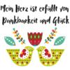 """Affirmation """"Mein Herz ist erfüllt von Dankbarkeit und Glück"""" mit Vögeln und Blumen"""